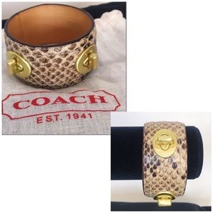Coach Snakeskin Turnlock Bangle Bracelet